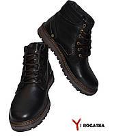 Мужские зимние кожаные ботинки, MULTI-SHOES, черные, прошитые