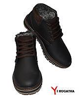 Мужские зимние кожаные ботинки, MULTI-SHOES, черные матовые, прошитые