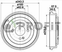Барабан тормозной задний Accent 06- R2044