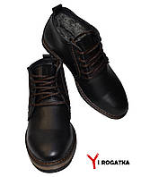 Мужские зимние кожаные ботинки, MULTI-SHOES, черные, классика