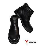 Мужские зимние кожаные ботинки, Karat черные, две змейки, высокие