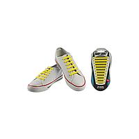 Шнурки плоские EASY LACE FLAT - CARD  20 шт (хватает до 10 пар обуви) YELLOW