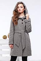 Стильное шерстяное пальто под пояс на осень