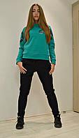 Женский теплый с начесом трикотажный спортивный костюм  +цвета