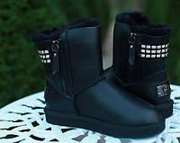 Женские сапоги UGG Classic Leather (кожаные) 2Zipper