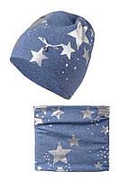 Модный звездный демисезонный комплект шапочка и снуд, для девочки, Польша
