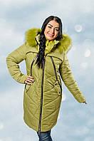 Зимняя женская куртка с капюшоном и мехом, размеры 44 - 50