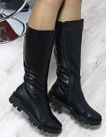 Зимние сапожки кожаные черные на тракторной черные подошве