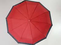 Зонт однотонный SL красный (SL494-5) с каймой по краю в горошек
