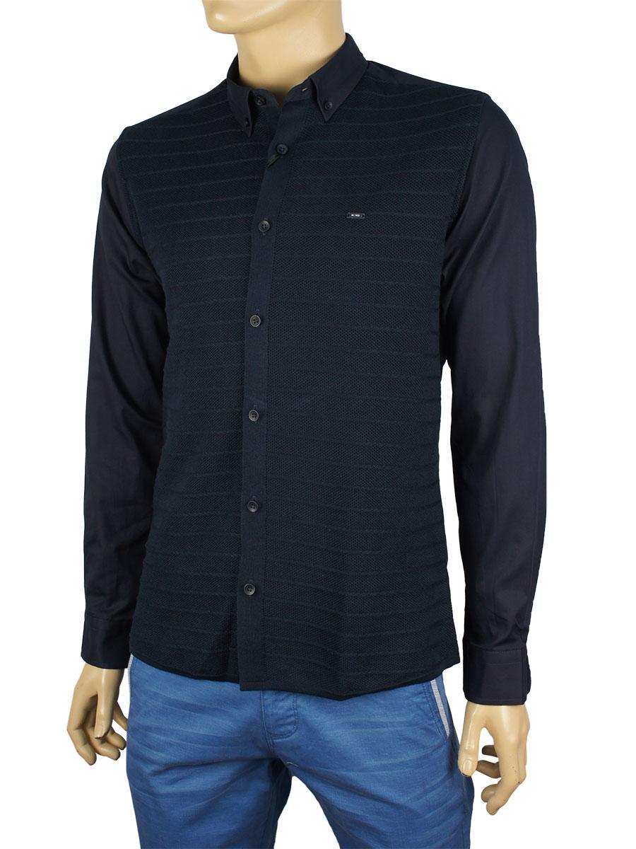Стильная мужская рубашка  NCS 7423 в темно-синем цвете