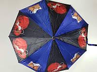 Женский зонтик атлас полуавтомат Mario (MR19-1) с животным принтом