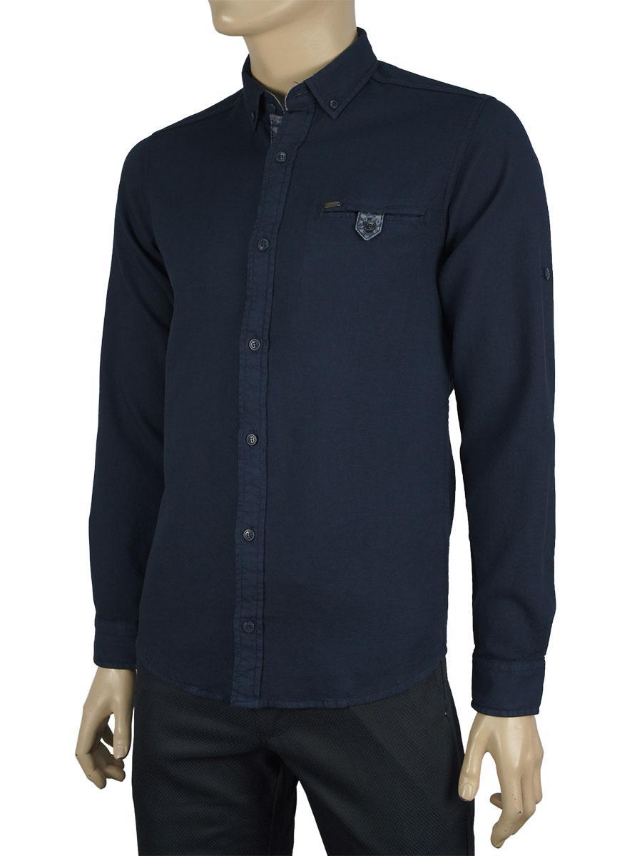Мужская рубашка Cordial K:01-2299 Н темно-синего цвета