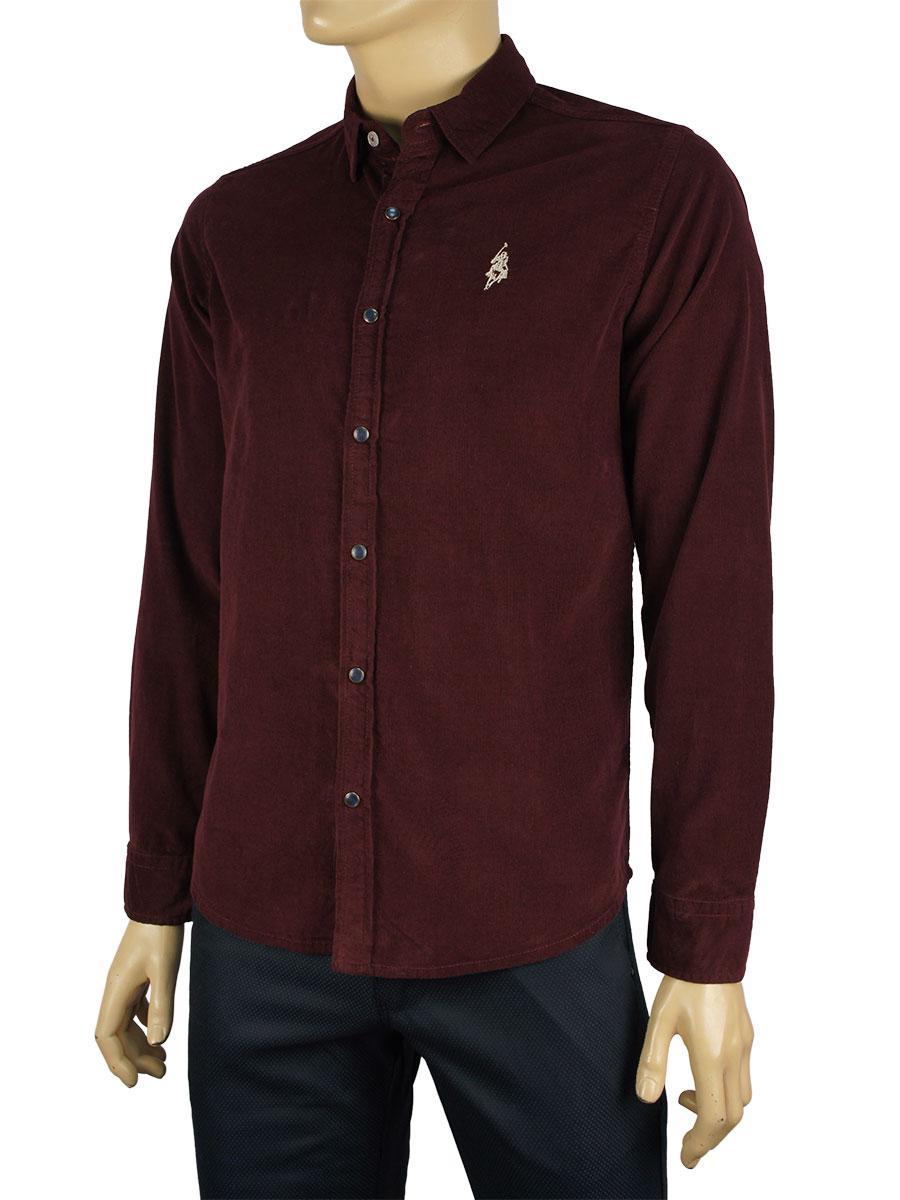 Мужская вельветовая рубашка Class Polo К:27-1006 бордовая
