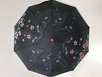 Женский зонтик полуавтомат Max Цветы (C124-1) с серебряным напылением
