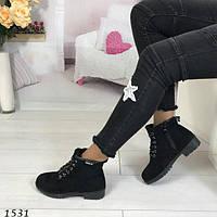 Женские зимние ботинки черные АВ-1531