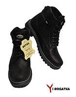 Мужские зимние кожаные ботинки, BOTUS, черные, прошитые, высокие