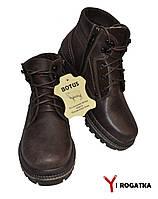 Мужские зимние кожаные ботинки, BOTUS, коричневые, прошитые, высокие