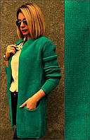 Кардиган женский вязанный, размеры 46-50 Бирюзовый
