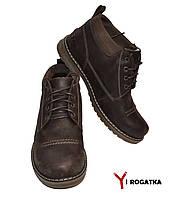 Мужские зимние кожаные ботинки, BOTUS, коричневые, прошитые, низкие
