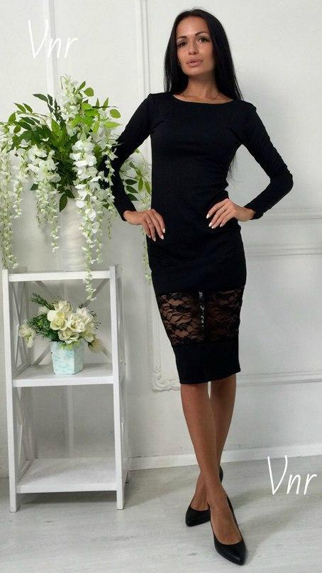 Платье миди с кружевом черное