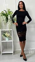 Платье миди с кружевом черное, фото 1