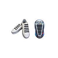 Шнурки силиконовые плоские для детской обуви EASY LACE KIDS FLAT Black (Card 14 pcs) BLACK