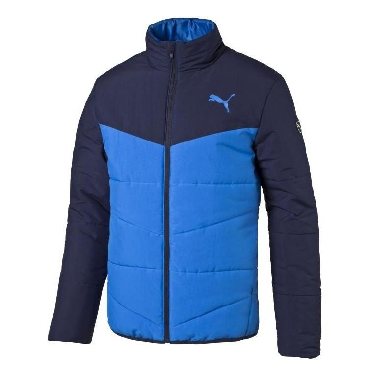 Куртка спортивная мужская Puma Ess Padded J 838638 13 (синяя, осень, синтепон, воротник стойка, логотип пума)