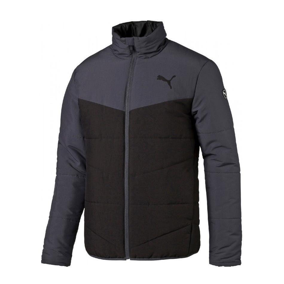 Куртка спортивная мужская Puma Ess Padded J 838638 01 (черная, осень, синтепон, воротник стойка, логотип пума)