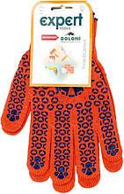 Перчатки DOLONI № 584 с 2-х сторон оранжевые точки