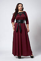 Изысканное длинное женское платье с поясом бордового цвета, фото 1