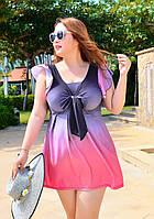 Купальник совместный  в виде платья розовый 5XL  купальник большой размер градиент
