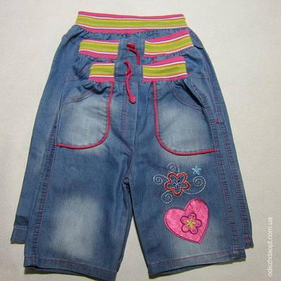 Капри джинс атласное сердечко 10712