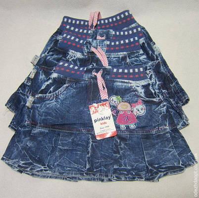 9794 Юбка джинс Pinklay с оборкой Черепашки