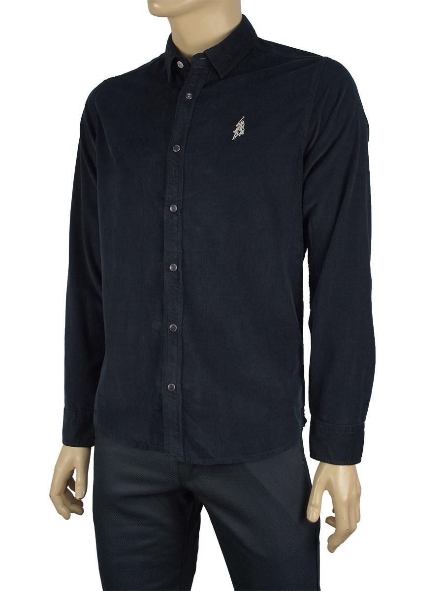Чоловіча вельветова сорочка Class Polo К:27-1006 темно-синя