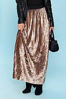 Юбка велюровая длинная (6цв), плиссированная юбка, юбка плиссе, юбка из бархата