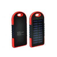Солнечная батарея портативная зарядка Power Bank Solar 2USB 6000 mAh Black-red