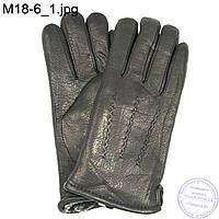 Мужские кожаные зимние перчатки из оленьей кожи - M18-6