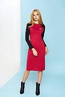 Трикотажное вишневое  платье А-66 ТМ Arizzo 44-54 размеры