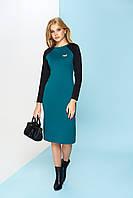 Трикотажное зеленое платье А-66 ТМ Arizzo 44-54 размеры