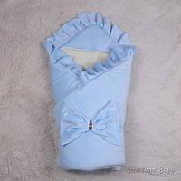 Зимний велюровый конверт одеяло для новорожденных с бантом Мария