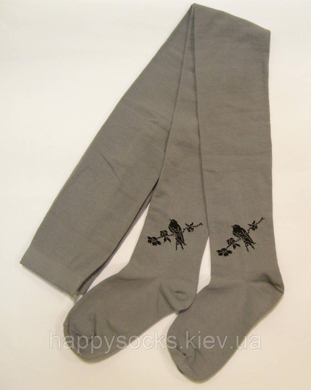 Хлопковые колготки серого цвета с птичкой демисезонные