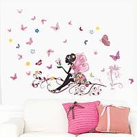 """Наклейки (стикеры) на стену """"Девочка с бабочками"""", Дизайн и декор"""