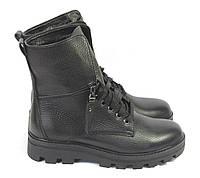 Зимние женские ботинки кожа черные, фото 1