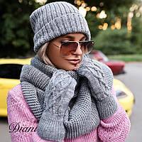 Женский теплый комплект : митенки,двойная шапка и шарф-снуд  (4 цвета)