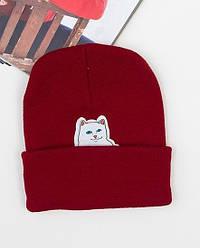 Зимова шапка бордова з котиком Rip n Dip в стилі унісекс чоловіча жіноча