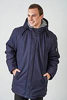 Зимняя мужская куртка-парка с утепленным капюшоном мехом барашек 4012