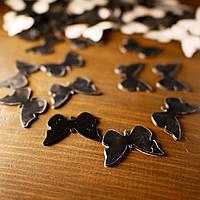 Акриловые зеркальные наклейки бабочки черные 100 штук