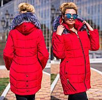 Зимнее женское пальто с мехом, большие размеры