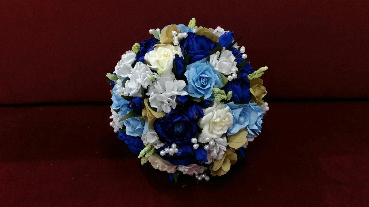 Свадебный букет-дублер синий с голубым и белым