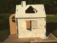 Картонный домик-раскраска для игр и рисования